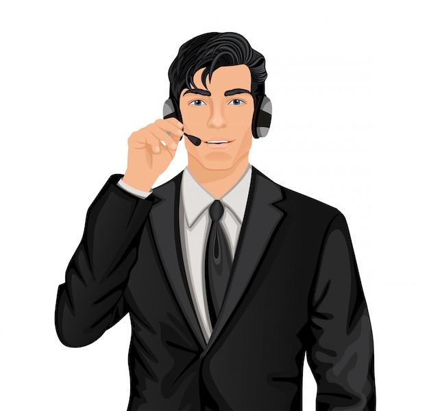 Homem representante do serviço ao cliente Vetor grátis