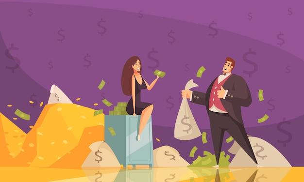 Homem rico, usando a riqueza para chamar a atenção da mulher com notas montes cartaz de fundo plana dos desenhos animados Vetor grátis