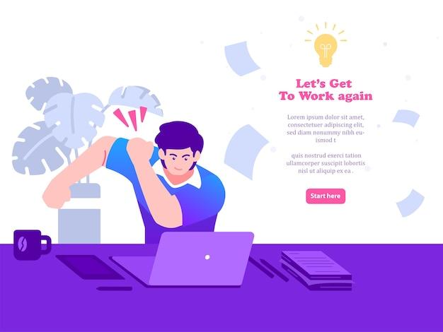 Homem se prepara para trabalhar na frente do computador. de volta ao trabalho ilustração do conceito Vetor Premium