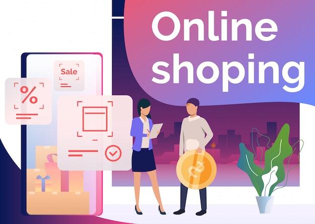 Homem segurando a moeda, fazendo pedidos e compras on-line Vetor grátis