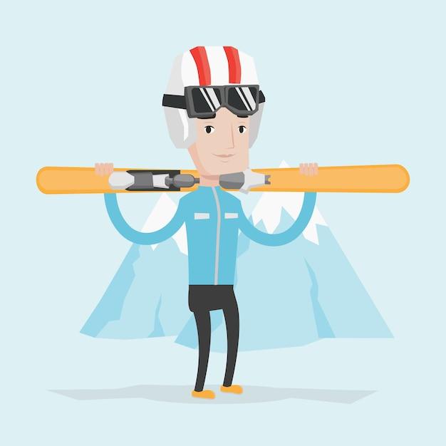Homem segurando esquis ilustração vetorial. Vetor Premium