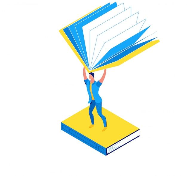 Homem, segurando, livro, biblioteca, isometric, conceito Vetor Premium