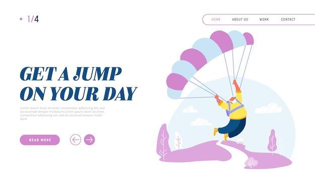 Homem sênior ativo paraquedista pulando com a página de destino do site de pára-quedas Vetor Premium