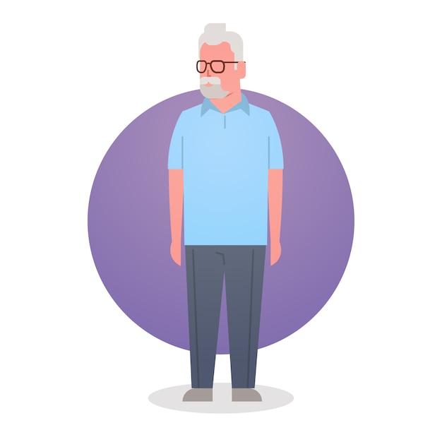 Homem sênior, avô, cabelo cinzento, macho, ícone, duração cheia Vetor Premium