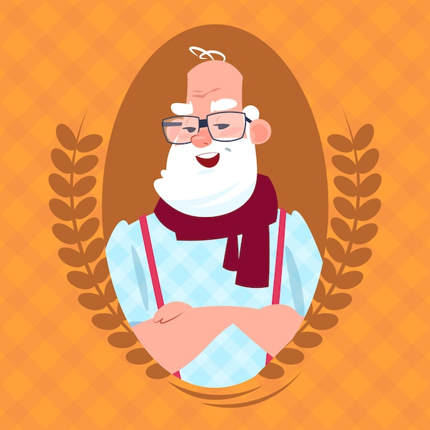 Homem sênior, com, conversa bolha, andar, com, vara, moderno, avô, duração cheia Vetor Premium