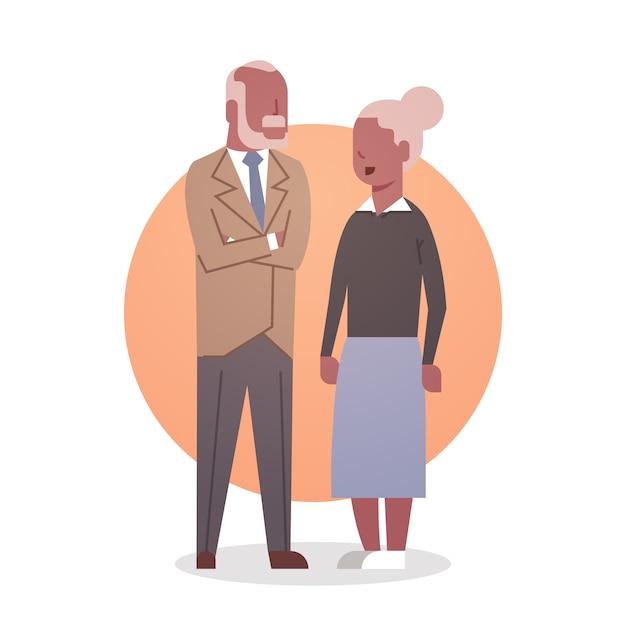 Homem sênior, e, mulher, pares americano africano, vó, e, grandfathr, cabelo cinzento, ícone, duração cheia Vetor Premium