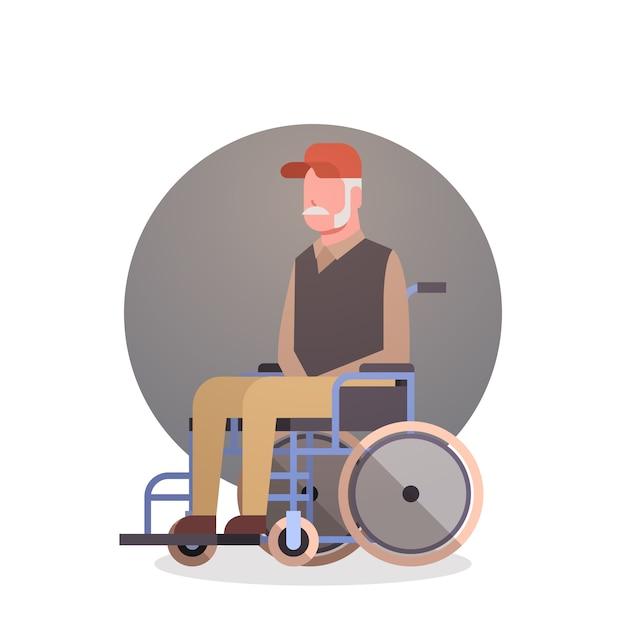 Homem sênior, ligado, roda, cadeira, avô, cabelo cinzento, macho, ícone Vetor Premium