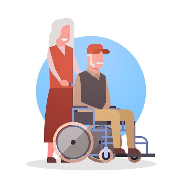 Homem sênior na cadeira de rodas e mulher casal avó e ícone de cabelos cinza grandfathr Vetor Premium