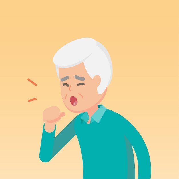 Homem sênior, tossir Vetor Premium