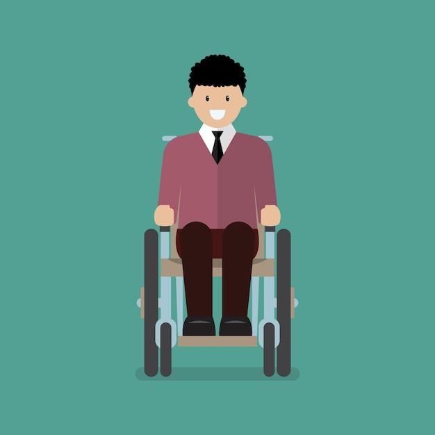 Homem, sentando, cadeira rodas Vetor Premium