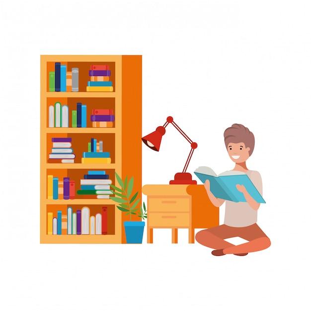 Homem, sentando, com, pilha livros Vetor Premium