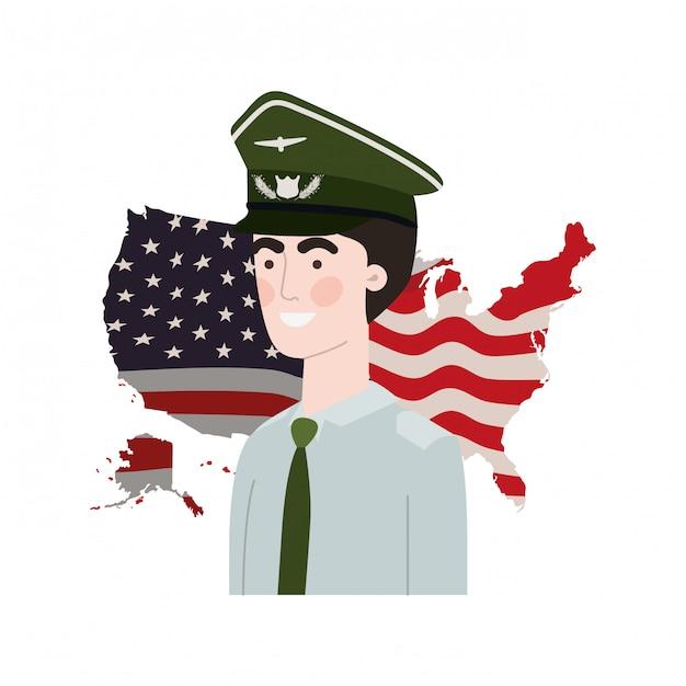 Homem soldado da guerra com a bandeira dos estados unidos Vetor Premium