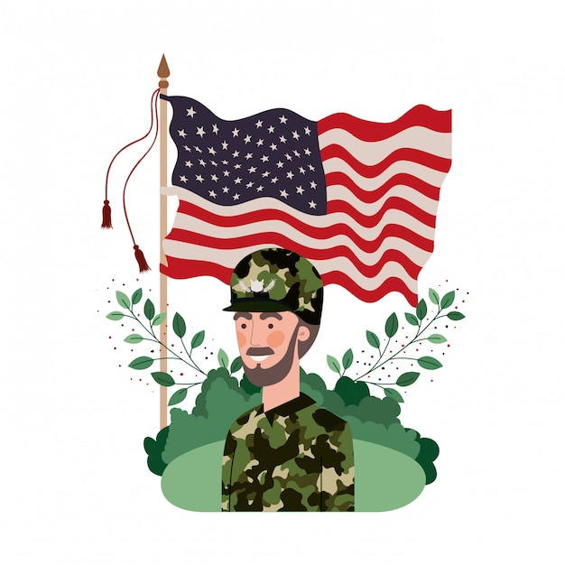 Homem, soldado, guerra, avatar, personagem Vetor Premium