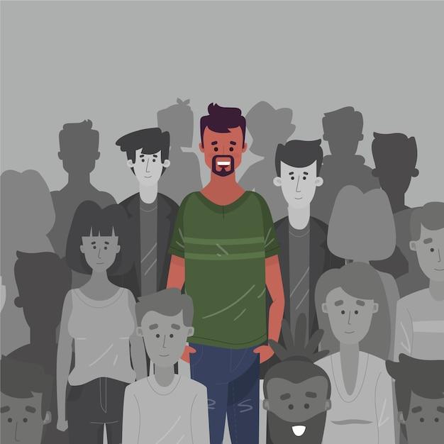 Homem sorridente na ilustração da multidão Vetor Premium