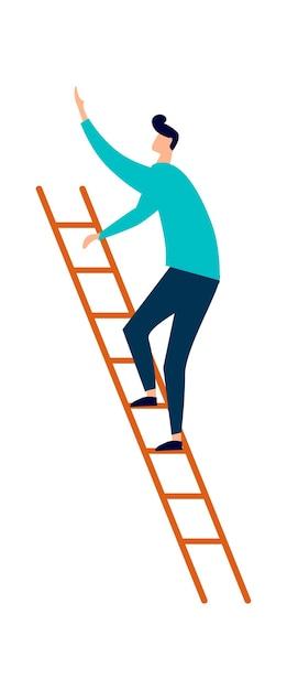 Homem subindo escada de madeira, carreira ou conceito de educação Vetor grátis