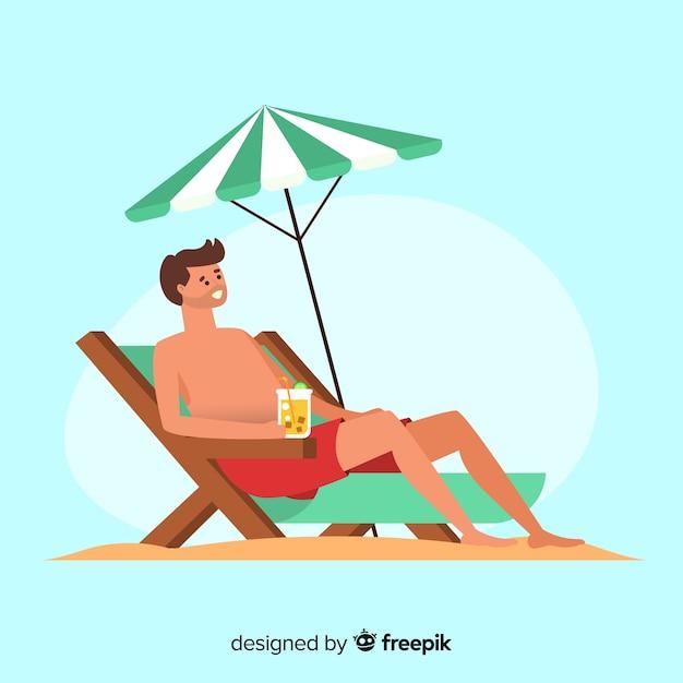 Homem, sunbathing, ligado, um convés, cadeira Vetor grátis