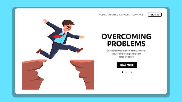 Homem superando problemas e dificuldades Vetor Premium