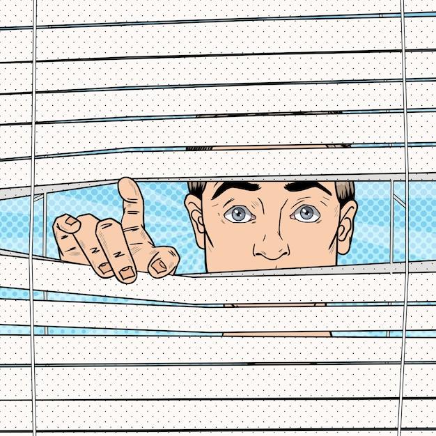 Homem surpreso olhando através das cortinas Vetor Premium