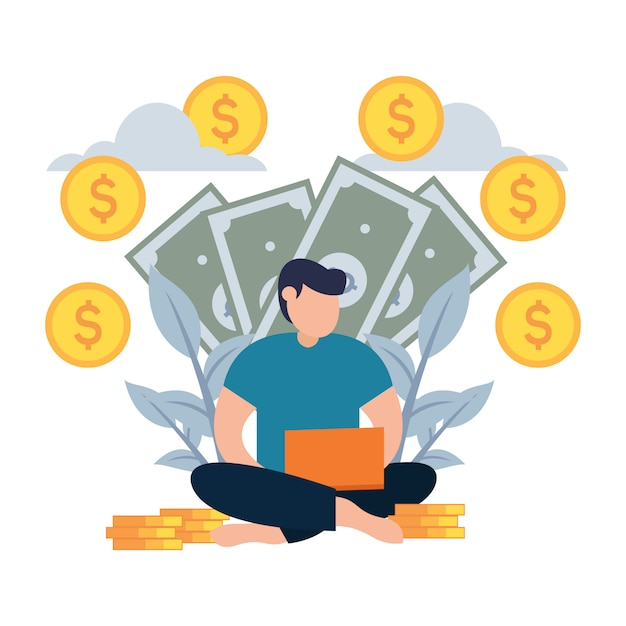 Homem tem dinheiro de estilo de internet plana dos desenhos animados Vetor Premium