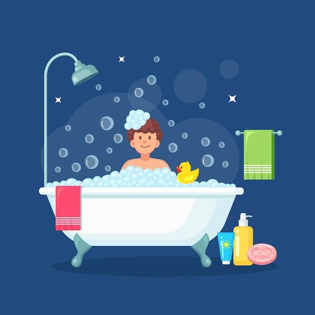 Homem tomando banho no banheiro com pato de borracha. lave o cabelo, o corpo. banheira cheia de espuma com bolhas Vetor Premium
