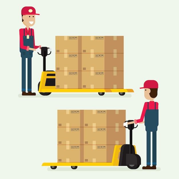 Homem trabalhador, reboque, mão, garfo, elevador, caixa carga, em, armazém Vetor Premium