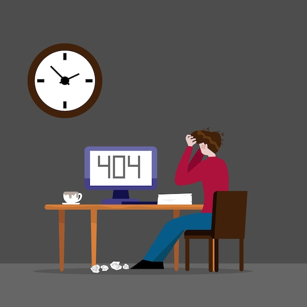 Homem trabalhando e erro 404 no computador na ilustração dos desenhos animados à noite Vetor Premium