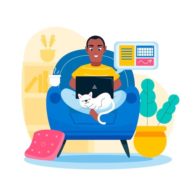 Homem trabalhando em casa e gato Vetor Premium