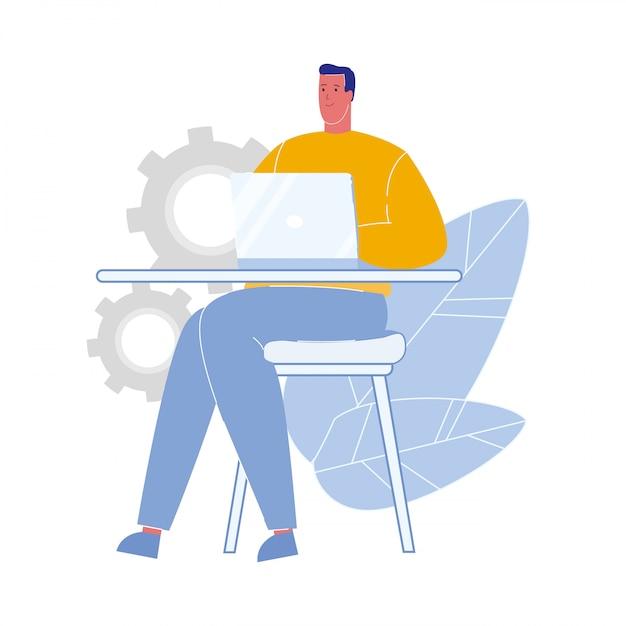 Homem, trabalhando, laptop, apartamento, vetorial, ilustração Vetor Premium