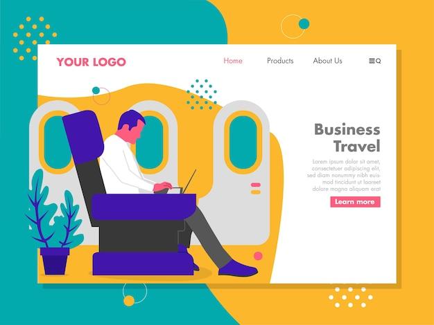 Homem trabalhando no laptop enquanto viaja em um avião Vetor Premium