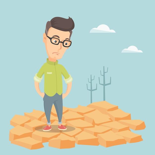 Homem triste na ilustração do vetor do deserto. Vetor Premium