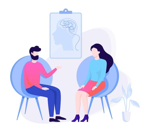 Homem triste sentado na cadeira falando com uma psicóloga. visita ao psiquiatra e tratamento para depressão. ilustração Vetor Premium