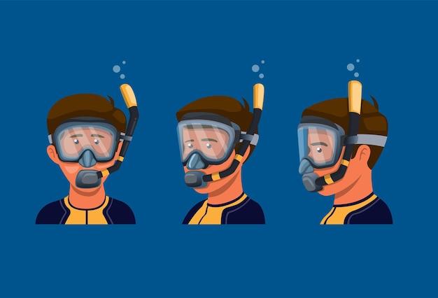 Homem usa máscara de snorkle para mergulho autônomo Vetor Premium