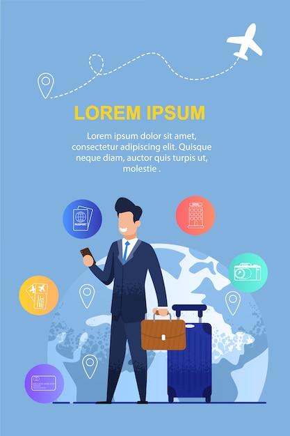 Homem usa um aplicativo móvel para viagem de negócios Vetor Premium