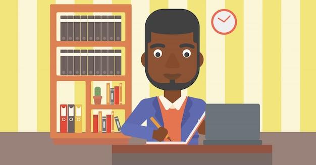 Homem usando laptop para a educação. Vetor Premium