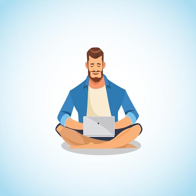 Homem, usando, laptop, para, trabalho, e, divertimento, caricatura, vetorial Vetor Premium