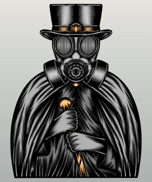 Homem usando máscara de gás e capa escura. Vetor Premium