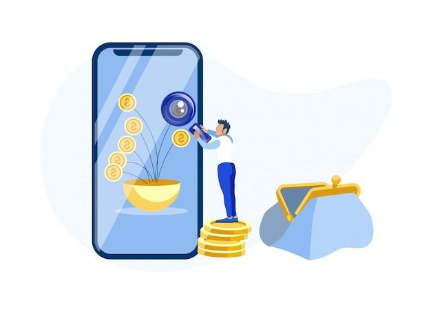 Homem usando mobile banking app metáfora dos desenhos animados Vetor Premium