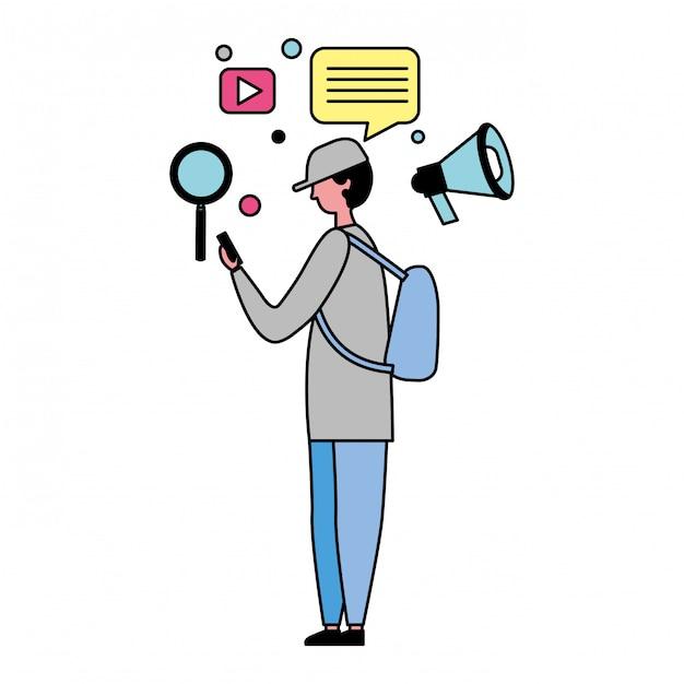 Homem, usando, móvel, e, social, mídia, ícones Vetor Premium