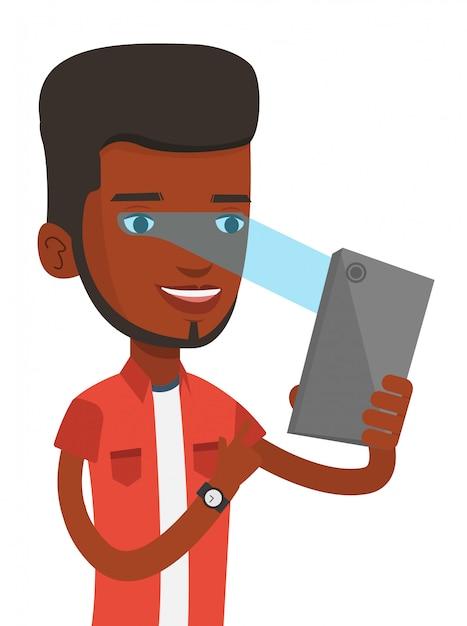 Homem usando o scanner de íris para desbloquear o telefone móvel. Vetor Premium