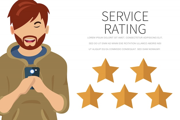 Homem usando smartphone para deixar um feedback Vetor Premium