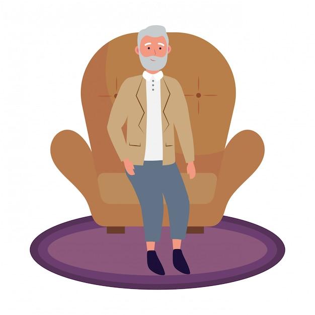 Homem velho, sentando Vetor Premium