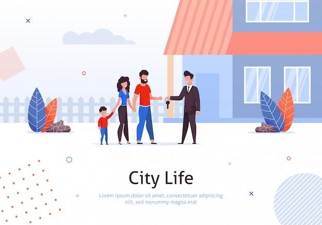 Homem vendendo ou alugar casa para casal Vetor Premium