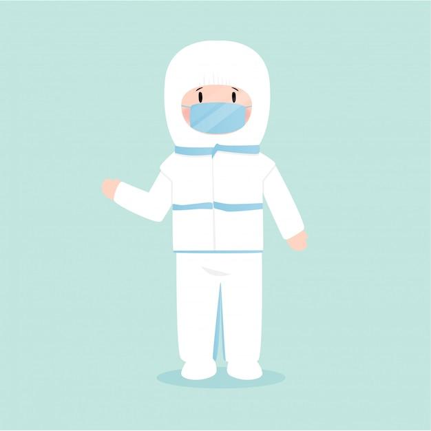 Homem vestindo uma máscara de proteção contra vírus, ilustração em estilo simples Vetor Premium