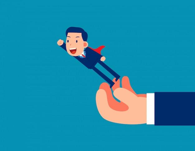 Homem voando fora de mão grande. dê liberdade aos negócios Vetor Premium