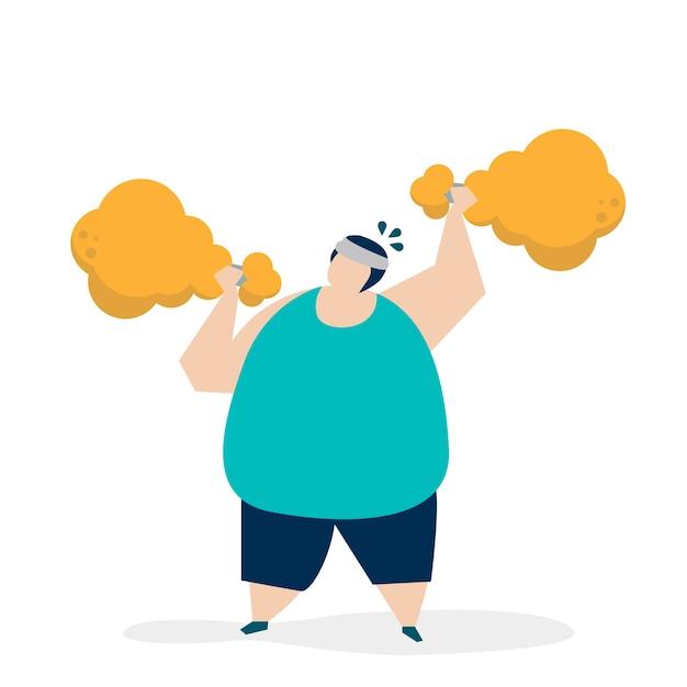 Homem, weightlifting, um, galinha frita, drumstick, ilustração Vetor grátis