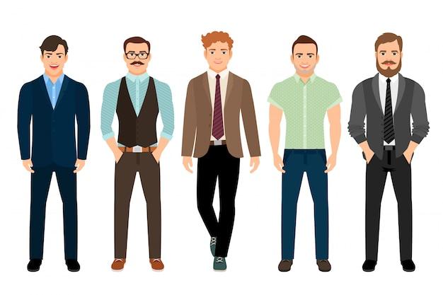 Homens bonitos vestidos em estilo masculino formal de negócios, ilustração vetorial Vetor Premium
