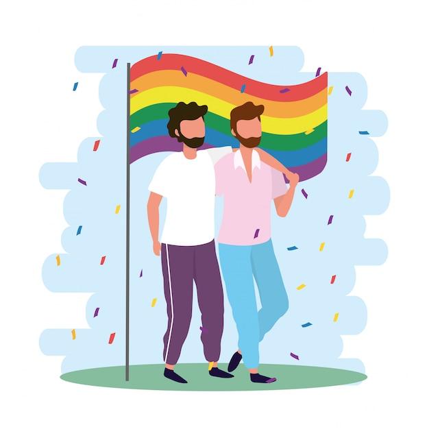 Homens casal junto com bandeira de arco-íris Vetor Premium