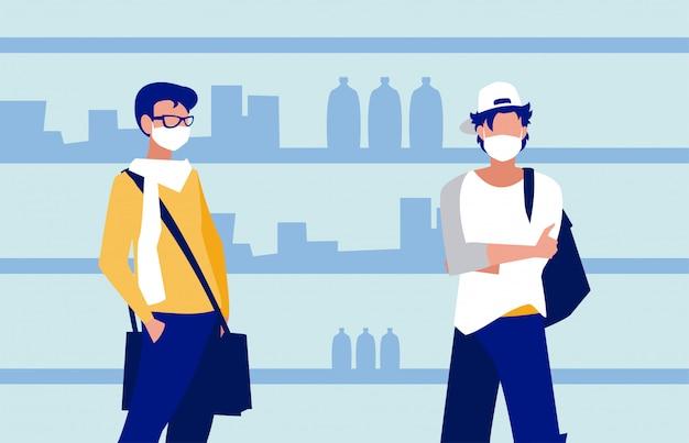 Homens com máscaras no supermercado em frente às prateleiras Vetor Premium