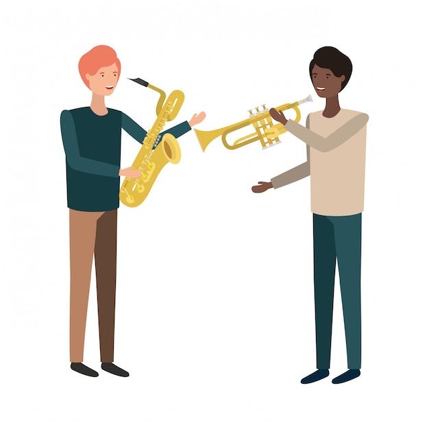 Homens, com, musical, instrumentos, personagem Vetor Premium