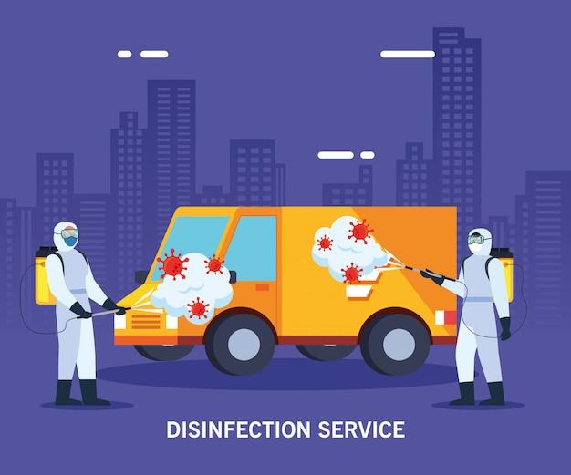 Homens com roupa protetora pulverizando caminhão com Vetor Premium